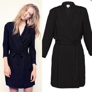 Aritzia Wilfred Franca Wrap Dress Black